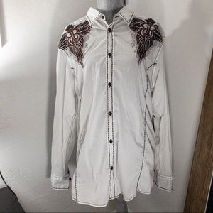 Roar Signature embroidered button down XL